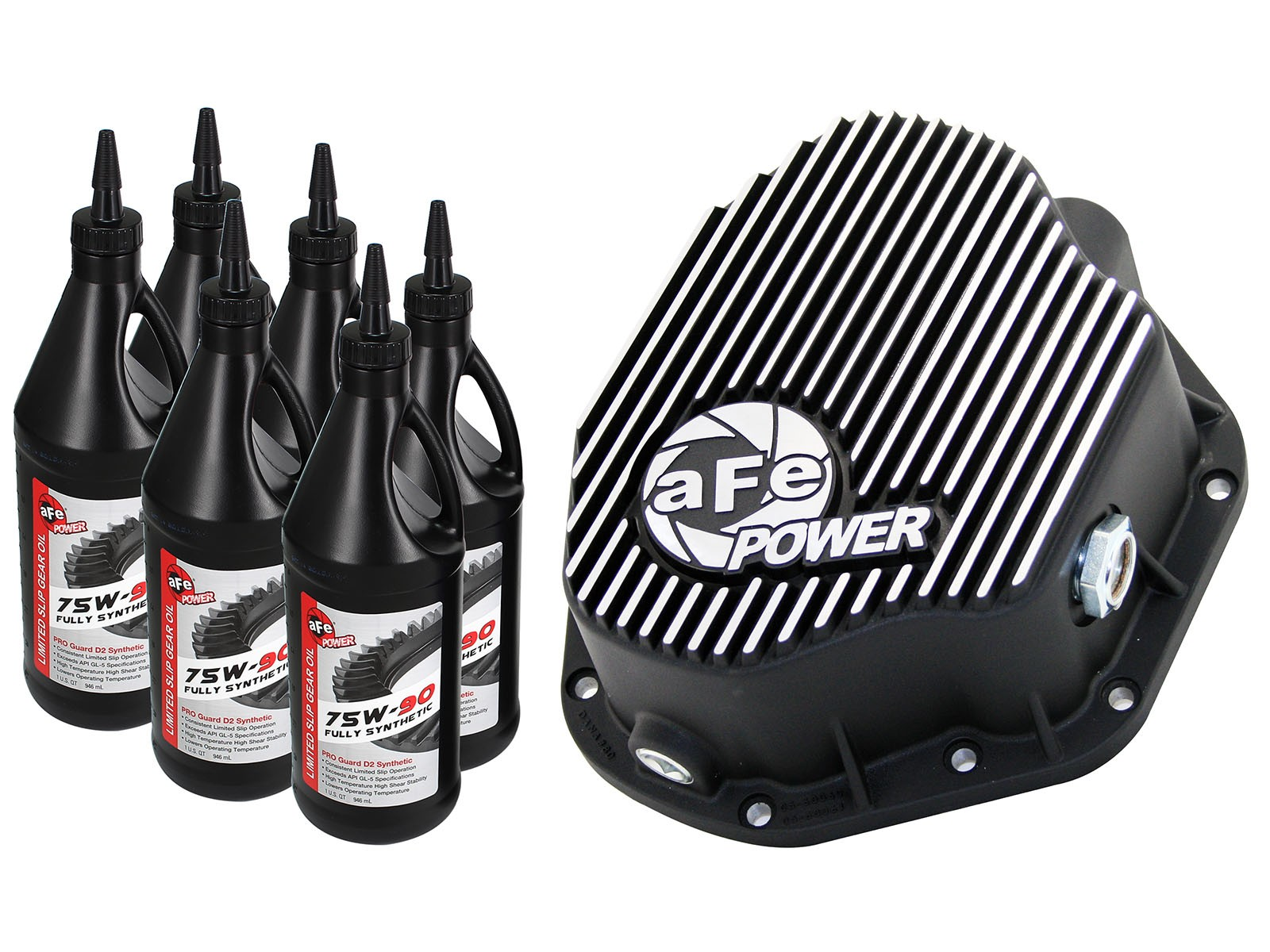 aFe POWER 46-70032-WL Rear Differential Cover, Machined Fins; Pro Series w/ Gear Oil