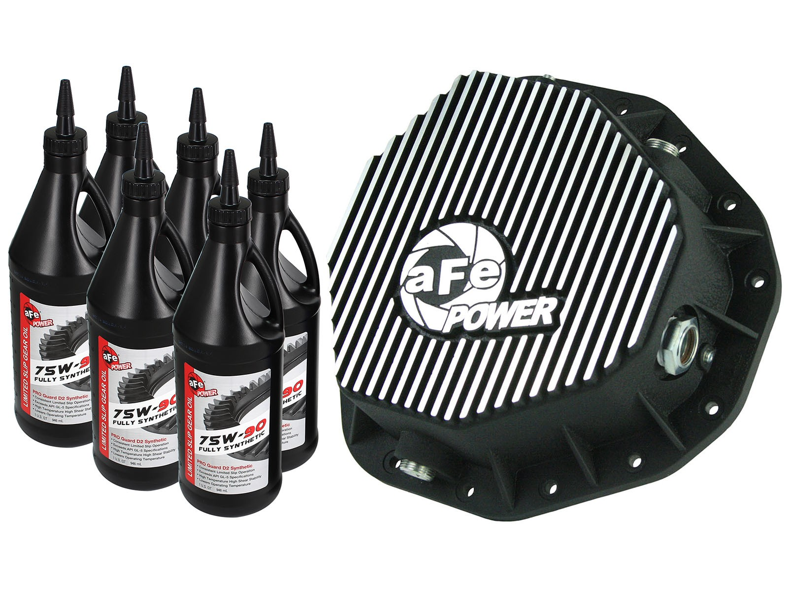 aFe POWER 46-70092-WL Rear Differential Cover, Machined Fins; Pro Series w/ Gear Oil