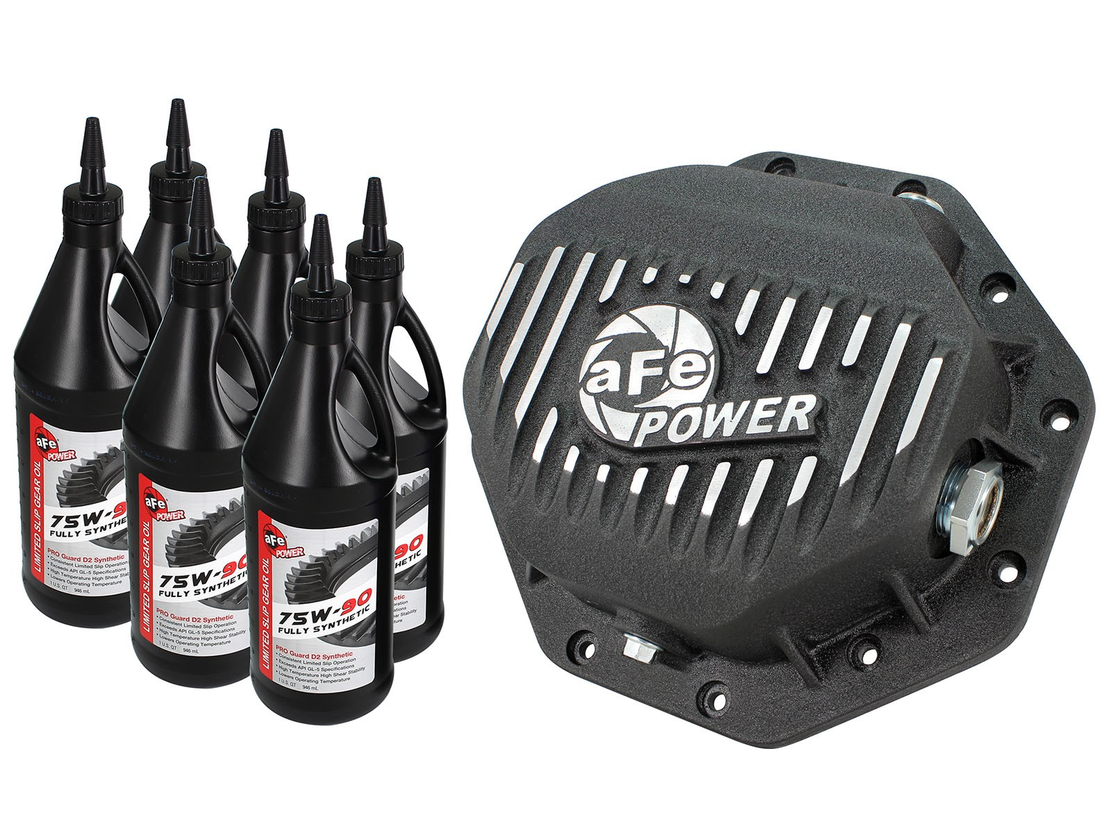 aFe POWER 46-70272-WL Rear Differential Cover, Machined Fins; Pro Series w/ Gear Oil