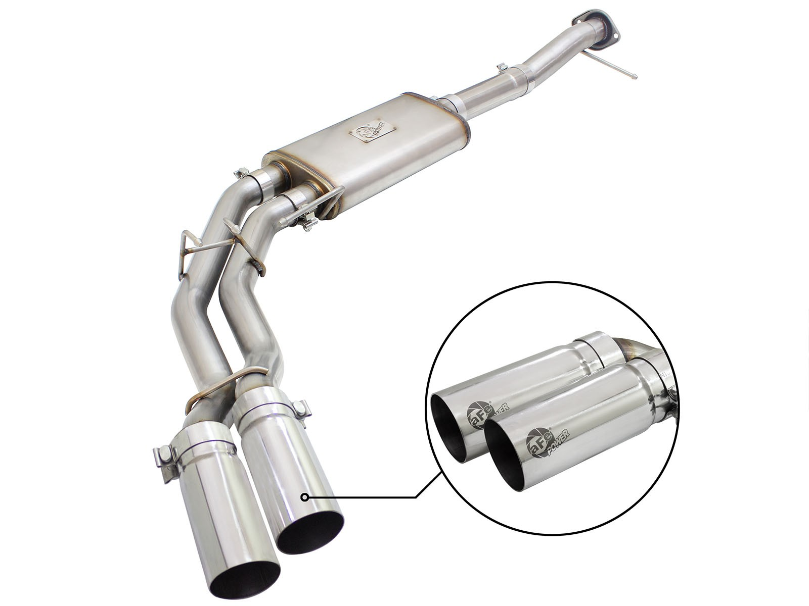 "aFe POWER 49-43080-P Rebel Series 3"" to 2-1/2"" 409 Stainless Steel Cat-Back Exhaust System"