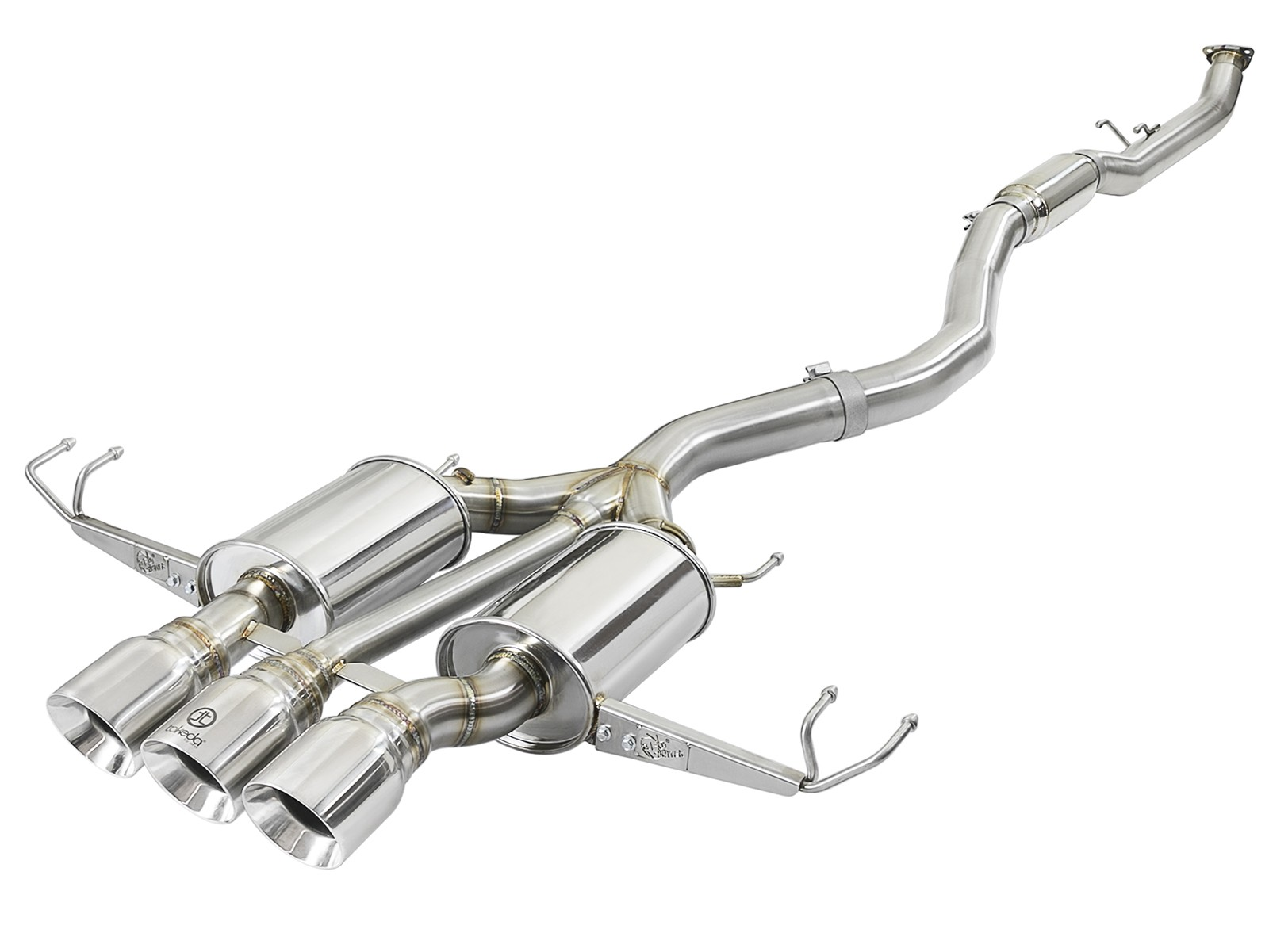 """aFe POWER 49-36623-P Takeda 3"""" 304 Stainless Steel Cat-Back Exhaust System w/ Tri-Polished Tips"""