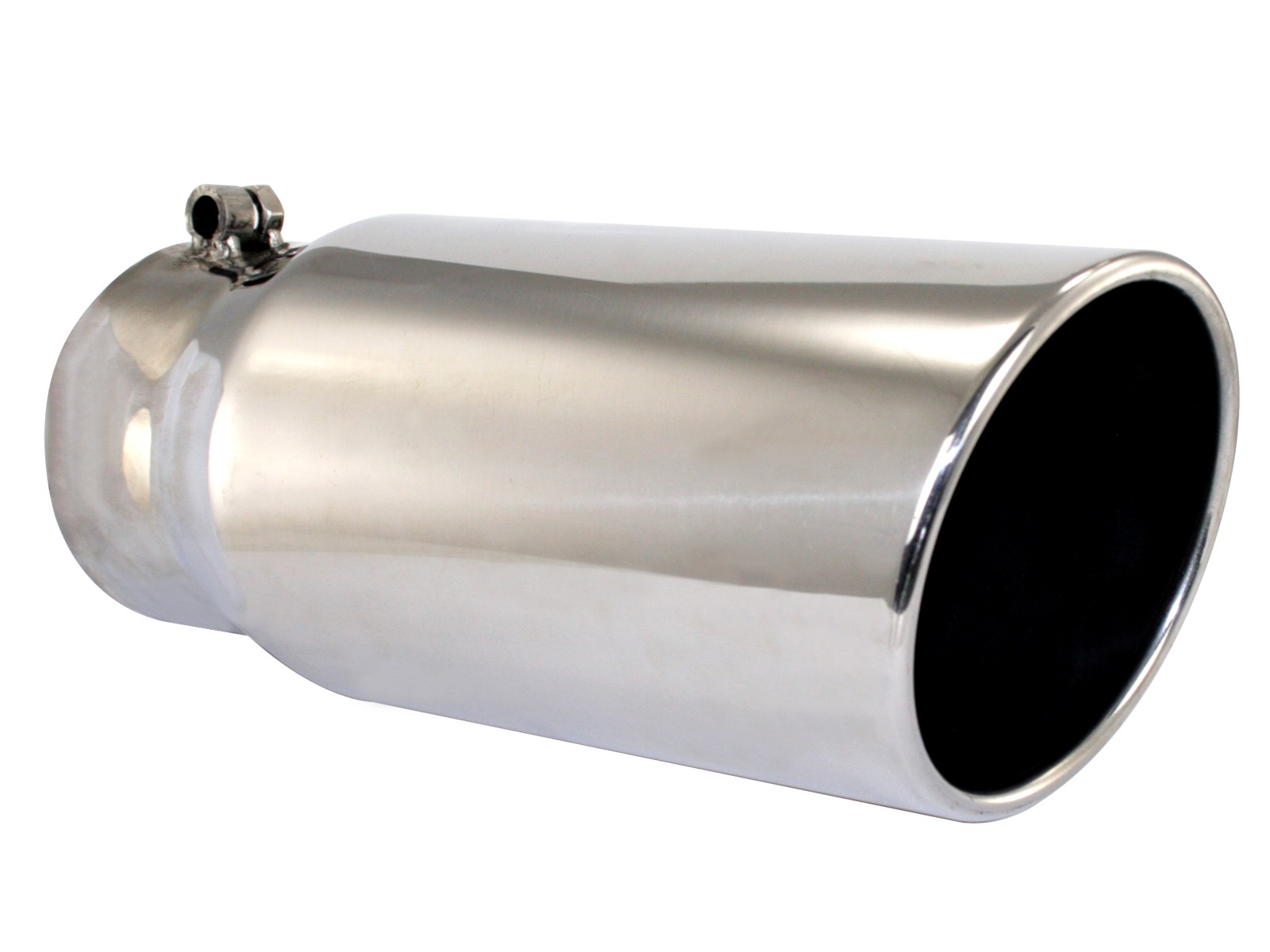 """4"""" INLET x 5"""" OUTLET x 15""""L POLISHED STAINLESS STEEL DIESEL EXHAUST TIP"""