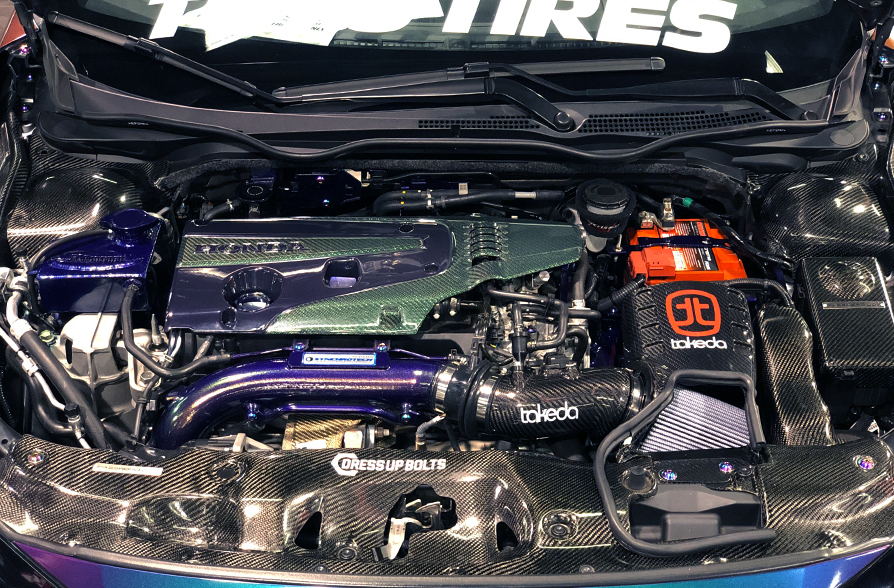 SPOCOM_Anahiem_aFe_POWER_Booth_Honda_Civic_Type_R_Carbon_Fiber_Engine_Bay
